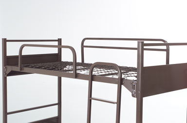 Picture of a bunk bed with all the different options and add ons that capital bedding offers