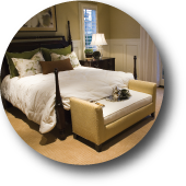 Image of Capital Bedding's Residential Line Logo. The logo is a picture of a bed in a bedroom setting.